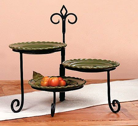 Plate Stand - Keller Tiered Swivel Stands - Set of 3 Tiered Plate Stands & Plate Stand - Keller Tiered Swivel Stands - Set of 3 Tiered Plate ...