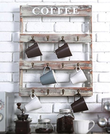 Coffee Mug Rack - Wood with 12 Metal Hooks
