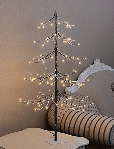Display Tree - Lighted Snowy Pagoda Fir Tree 4 Foot