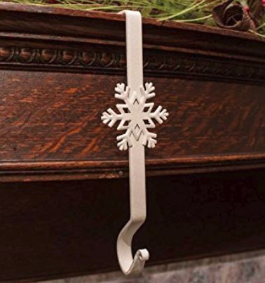 Stocking Hangers -  Wrought Iron Snowflake Hooks - White Set of 4