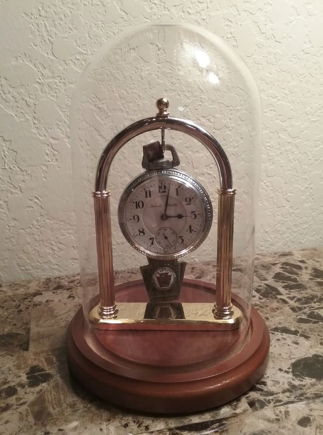"Pocket Watch Display Dome - 4"" x 7"" with Brass Full Arch Stand"