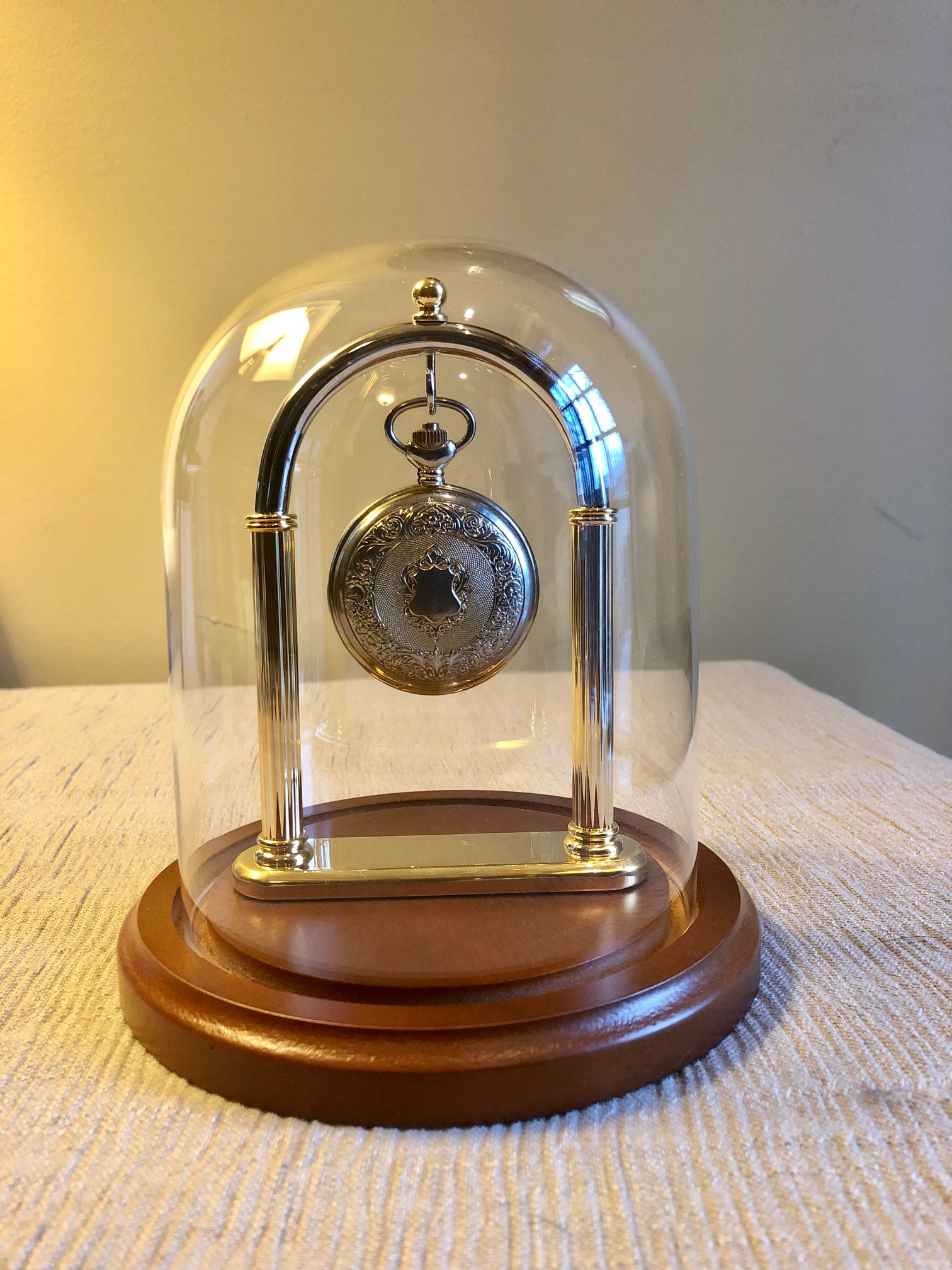 "Pocket Watch Display Dome - 4-1/2"" x 8"" with Brass Full Arch Stand"