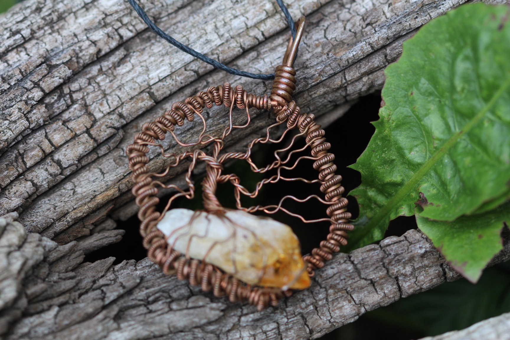 Creative Expressions - Tree of Life Pendant - Citrine - Copper Wire