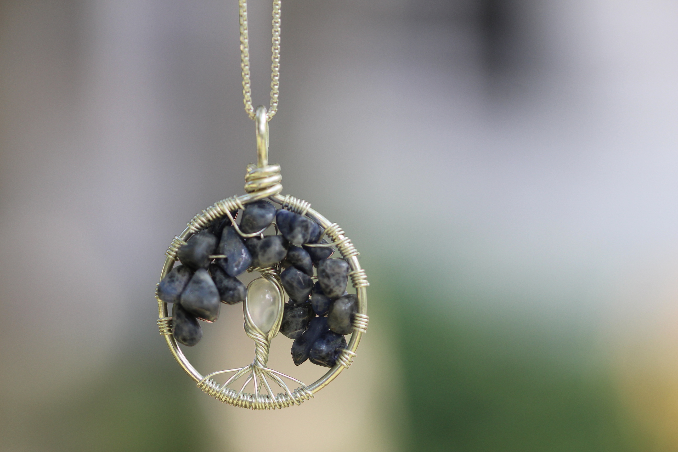 Creative Expressions - Tree of Life Pendant - Sodalite - Moonstone - Silver Wire