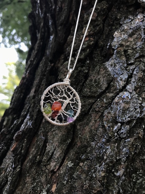 Creative Expressions - Tree of Life Pendant - Chakras - Silver Wire