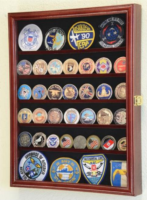 Challenge Coin Display Case - 56 Coin with Adjustable Shelves