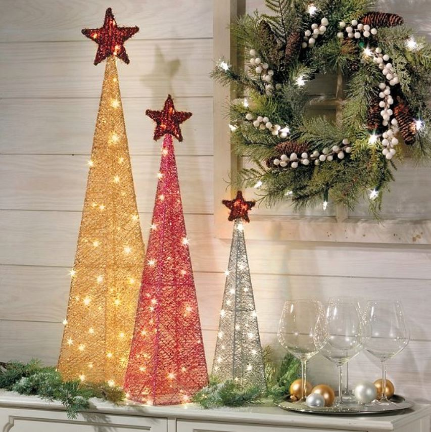 Lighted Display Trees - Glittered Christmas Tree Set