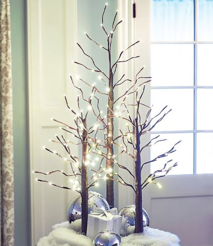 Lighted Display Trees - Set of 3 Brown Twig