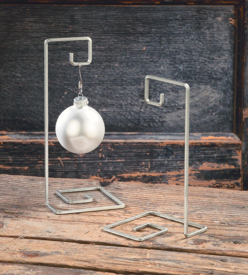 Ornament Stands - Single Silver Swirl Ornament Display Set of 12
