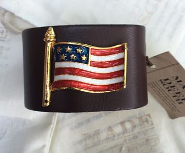 Made in the Deep South - Brown Leather Cuff - American Flag