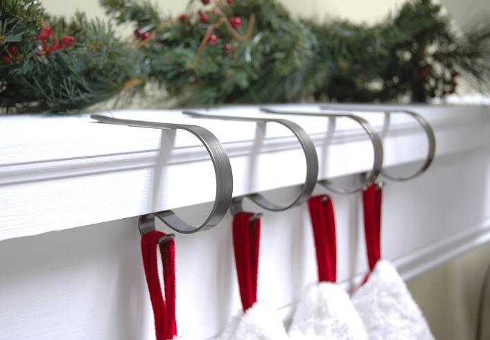 Mantleclip stocking hangers brass set of