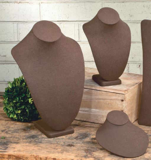 Jewelry Display - Chocolate Brown Linen Neck Forms - Set of 3