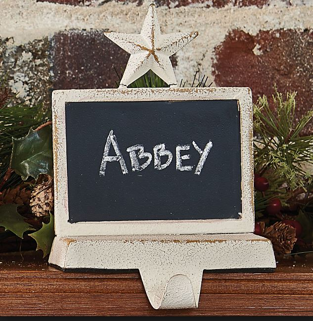 Stocking Holders - Chalkboard Snow White Finish