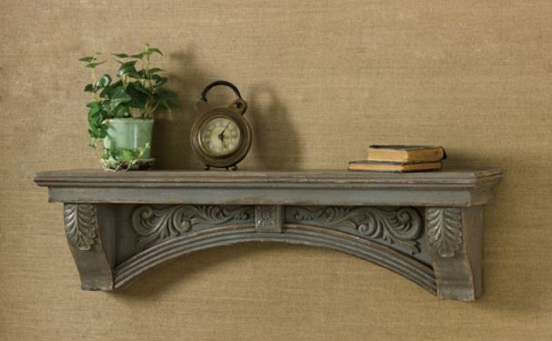 Mantle Display Shelf - Aged Gray Scroll Detail