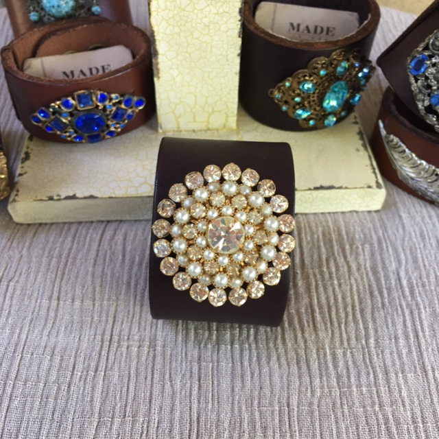 Made in the Deep South - Brown Leather Cuff - Pearls & Rhinestones