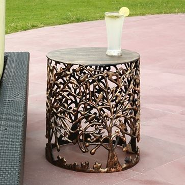 Accent Table - Metal Tree & Lattice