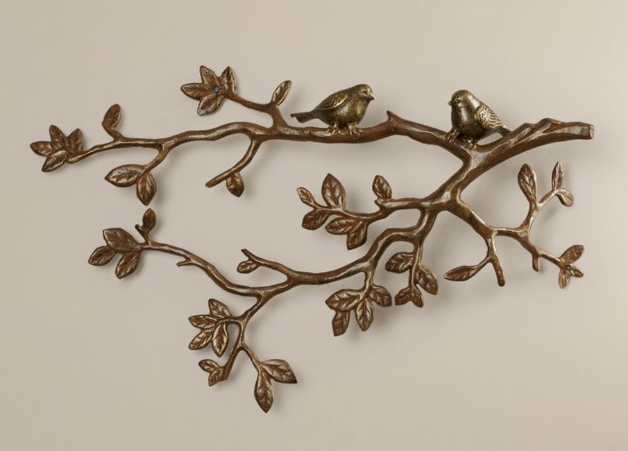 Wall Plaque - Little Lovebirds on Branch