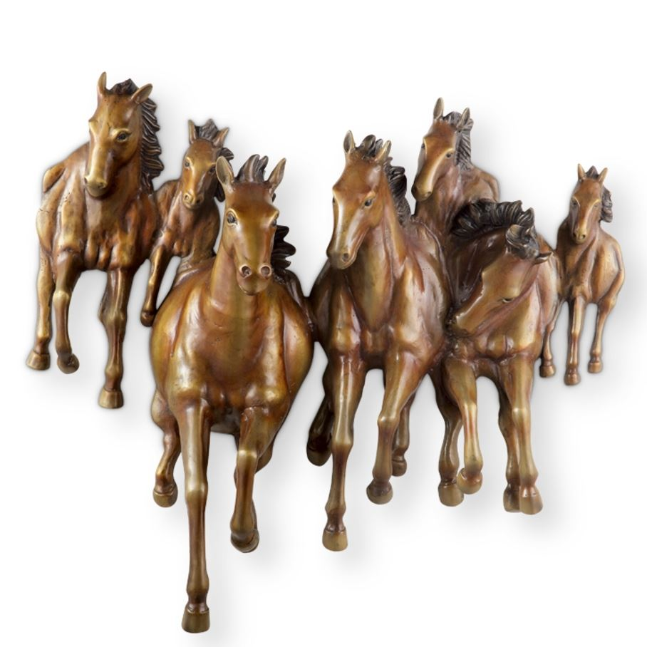 Wall Plaque - Brass Galloping Horses