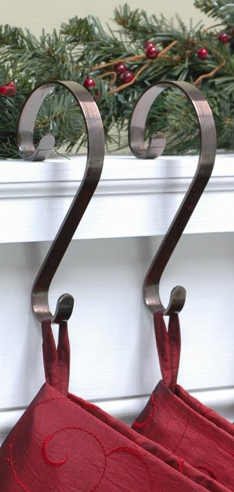 Stocking Scroll Hangers - Oil Rubbed Bronze - Set of 4