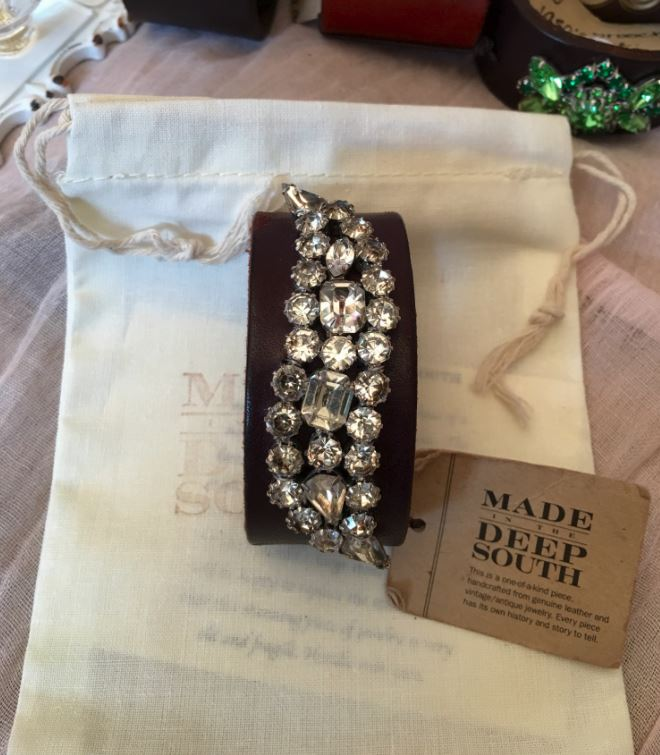 Made in the Deep South - Brown Leather Cuff - Rhinestone Scroll