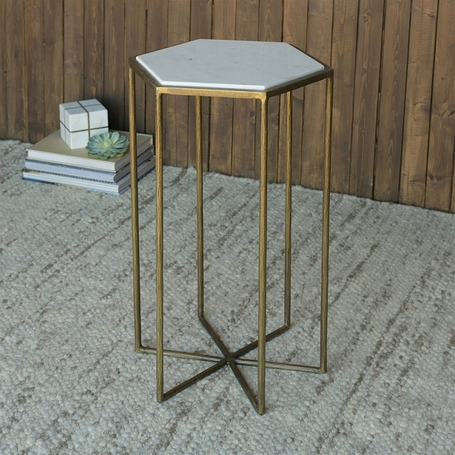 Accent Side Table - Apex Brass & White Marble