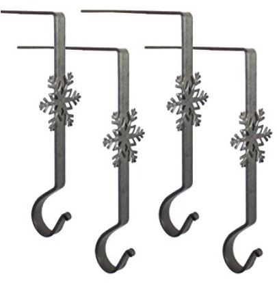 Stocking Hangers -  Wrought Iron Snowflake Hooks - Black Set of 4