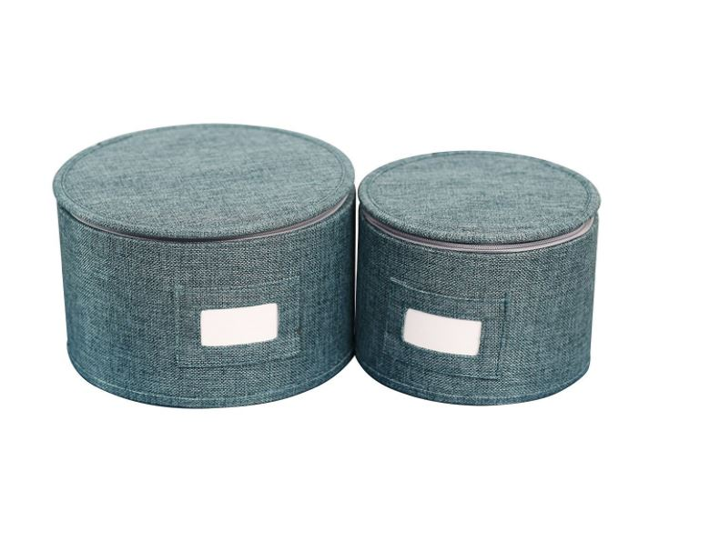 blue twill dish storage boxes