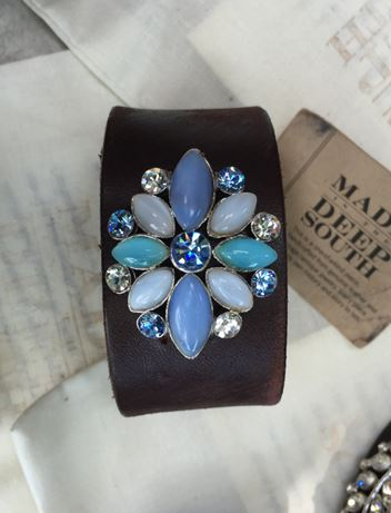 Made in the Deep South - Brown Leather Cuff - Aegean Blue Star