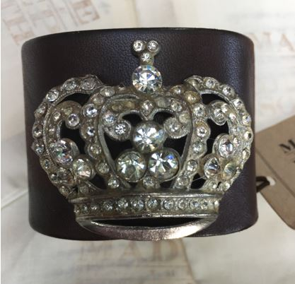 Made in the Deep South - Brown Leather Cuff - Rhinestone Queen