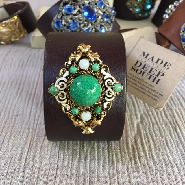 Made in the Deep South - Brown Leather Cuff - Malachite & Moonstone