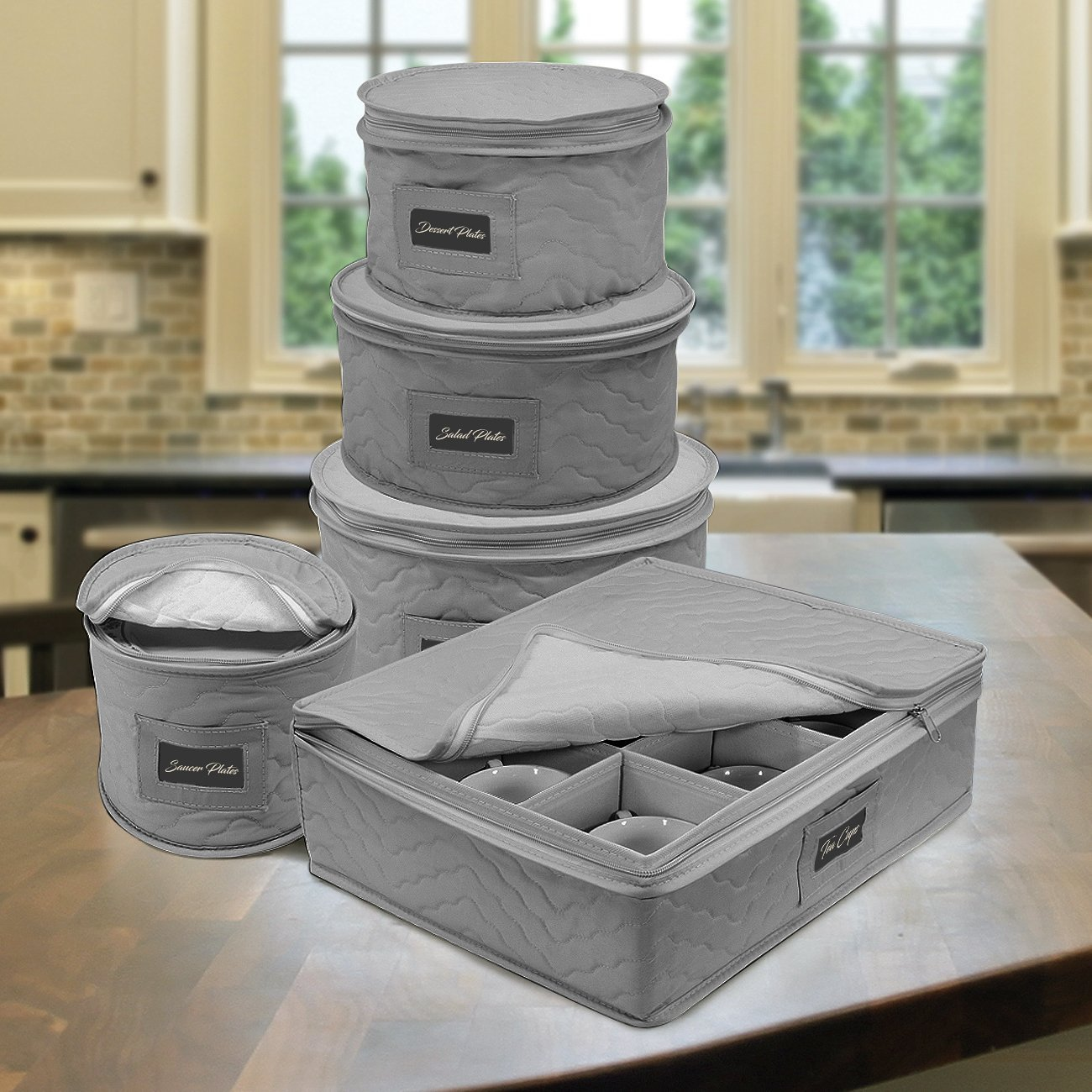 Dinnerware Storage - Gray 5 Piece Set