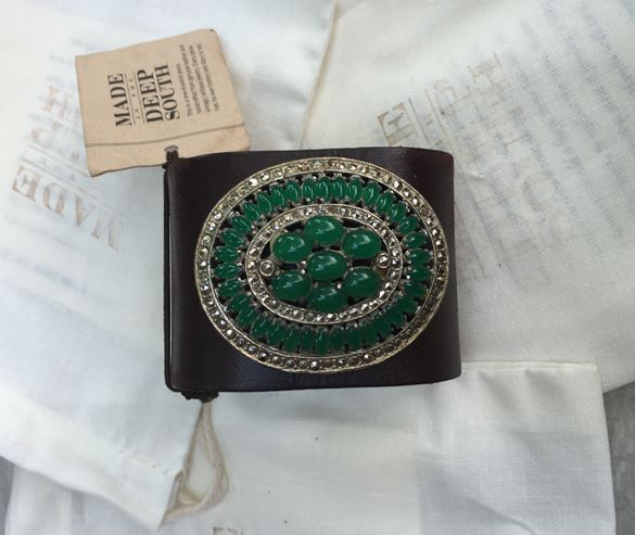 Made in the Deep South - Brown Leather Cuff - Emerald and Rhinestone Sparkle