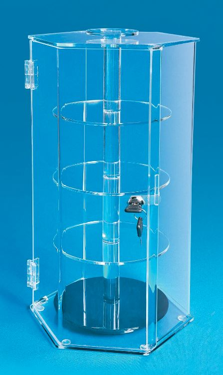 Curio Case - Acrylic Rotating Shelved Display Case with Lock