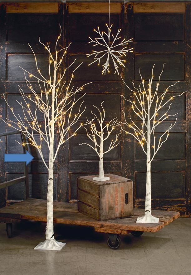 Display Tree Large Lighted White Birch Ornament Display