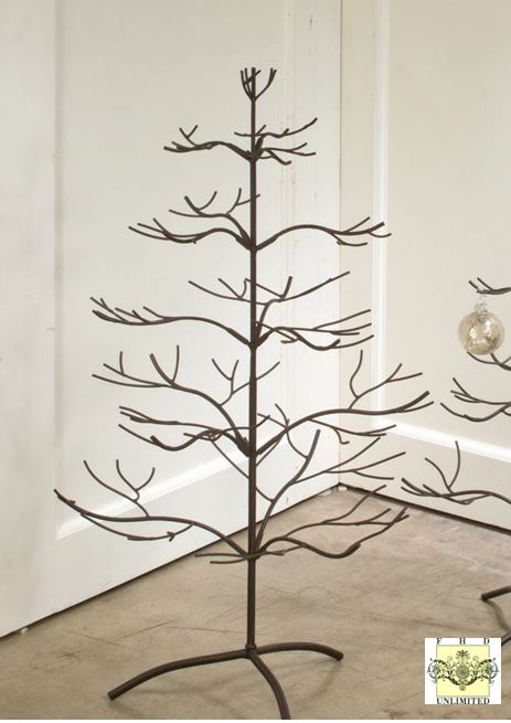 ornament trees brown natural 36 - Metal Christmas Tree Ornament Display