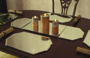 Mirror Displays 3 Piece Table Runner Beveled Edge