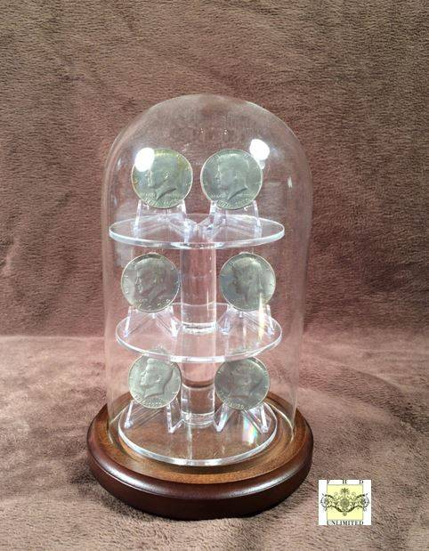 "Challenge Coin Display Dome - 4"" x 7"" with Shelves"