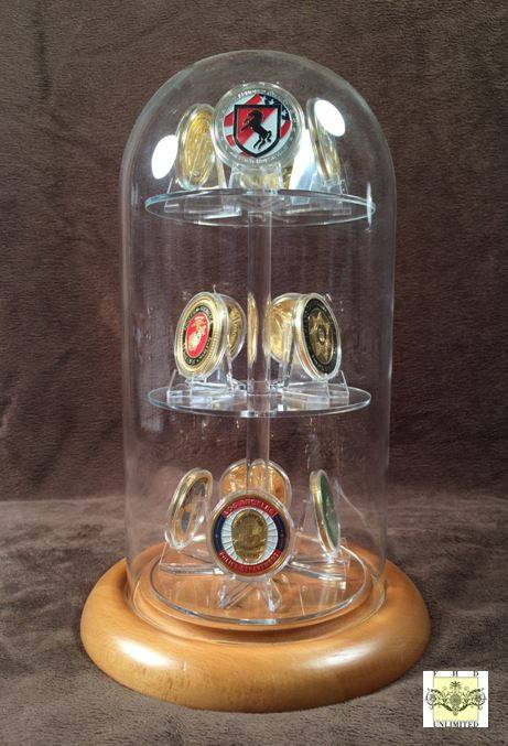"Challenge Coin Display Dome - 5 1/2"" x 11"" with Shelves"