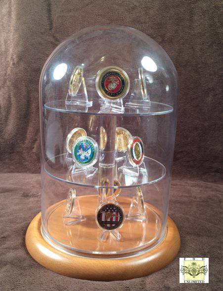 "Challenge Coin Display Dome - 8"" x 12"" with Shelves"