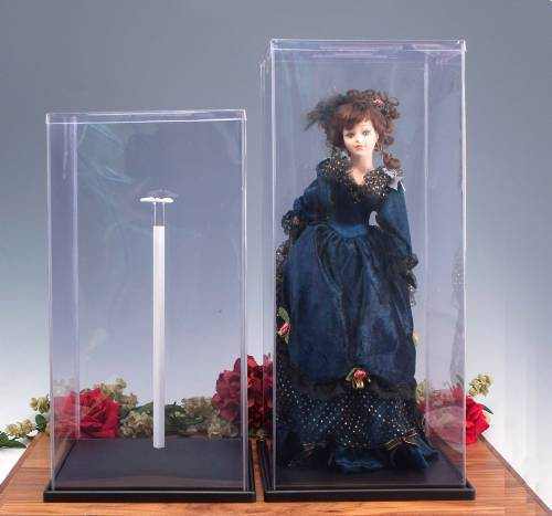 Display Cases -  Plastic Doll Covers with Stand - Set of 6
