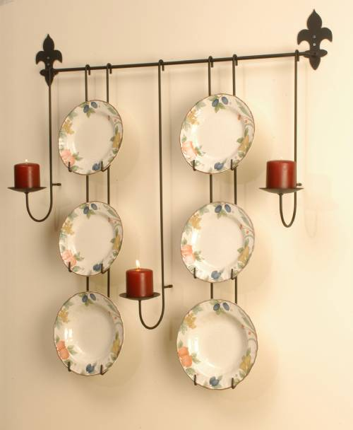 Plate Rack - Six 10\  - 11\  Plates with Candle Holders & Plate Rack - Six 10\