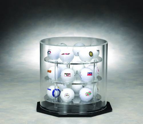 Golf Ball Display Case - Acrylic Round Shelved Rotating Case