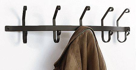 Wrought Iron Coat Hooks - 5 Hook Rack