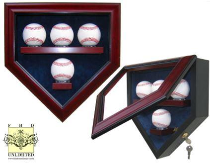 baseball display case home plate four ball display