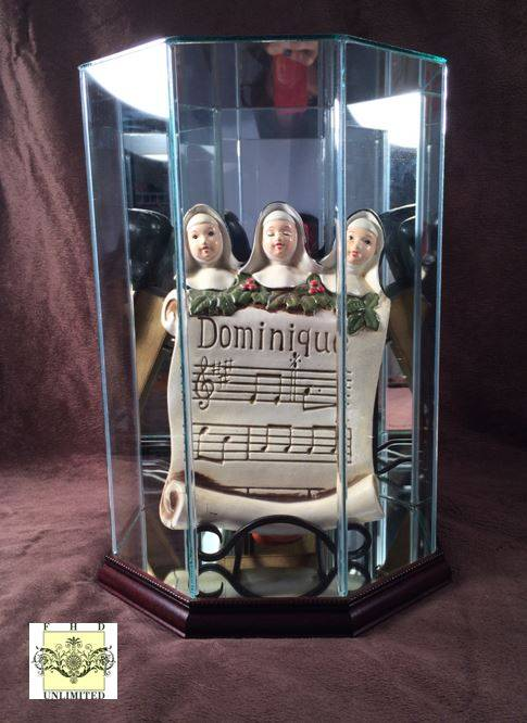 Doll Case - Octagon Display with Wood Trim