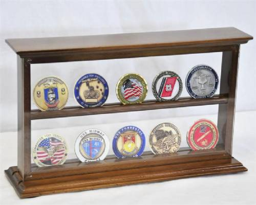 Coin Display Case - Two Shelf, Challenge Coin Displays, Military ...