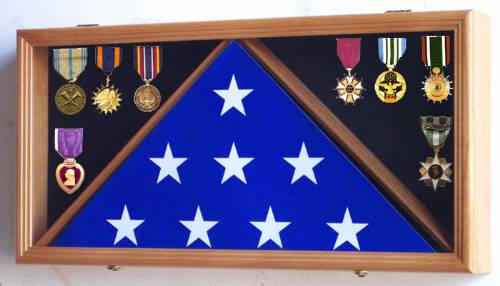 Flag Cases - Flag and Medal Case with UV Protective Door