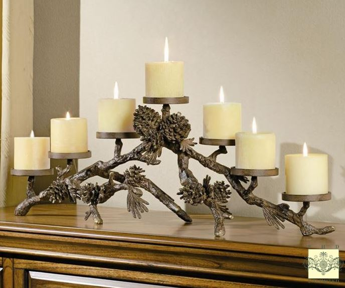 Candle Holders - Rustic Pinecone Mantlepiece