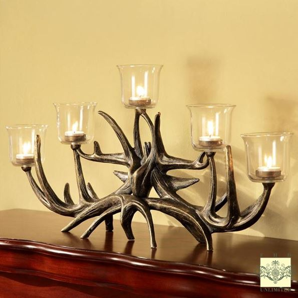 Candle Holder - Rustic Antler Votive Candelabra