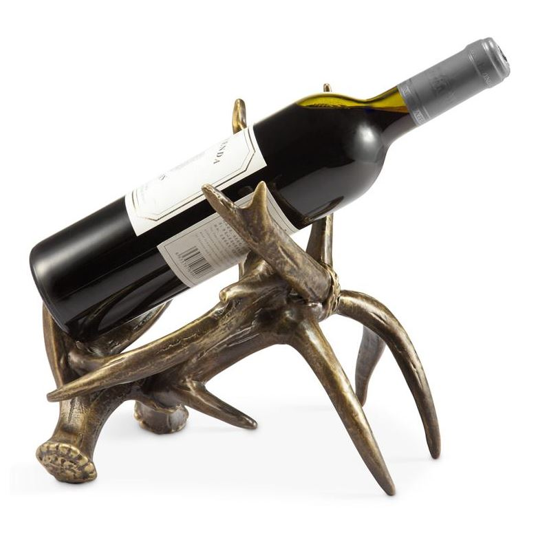 Wine Bottle Holders - Pair of Rustic Antler Design Wine Stands